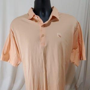 PETER MILLAR Orange Golf Polo Shirt Size XL